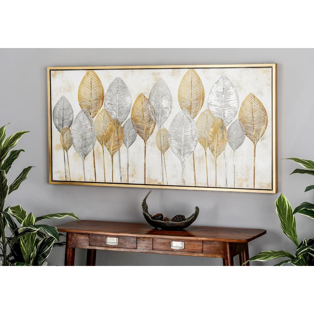Cosmoliving By Cosmopolitan Gold And Silver Veined Leaves Hand Painted Framed Canvas Wall Art 43999 The Home Depot Framed Canvas Wall Art Canvas Wall Art Wall Art Painting