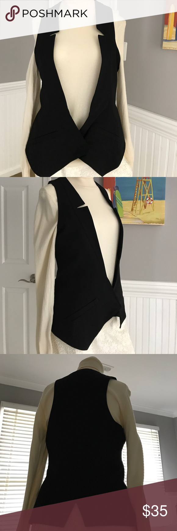 Sleek & Chic Vest by Alvin Valley This is the perfect addition for any fashionista's closet- such an unusual piece! Smartly tailored with a slimming siluette accentuating the waist. The front is slightly cut longer than the back, front pockets are still closed. One button close, great open or closed.Sleek & stunning. Top is cotton, lining is luxurious silk, color is black, no flaws- in fabulous condition! By NYC designer Alvin Valley. Sold at high end stores and boutiques. Size 6. Pit 2 pit…