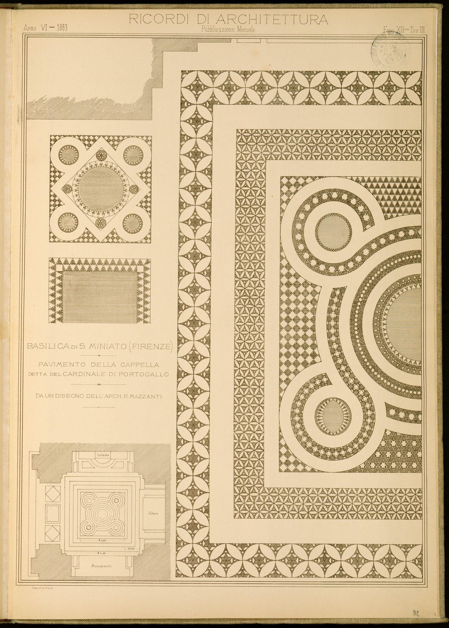 Basilica di s miniato firenze pavimento della cappella for Strumento di progettazione del layout del pavimento