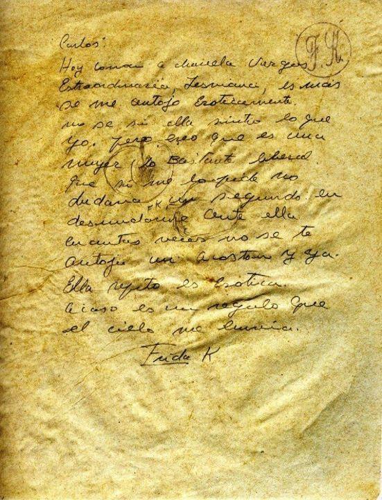 Carta de Frida Kahlo, hablando de Chavela Vargas.