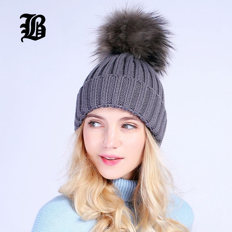 FLB  Gray Mink Fur Ball Cap Pom Poms Winter Hat For Women Girl  S Wool Hat  Knitted Cotton Beanies Caps Brand Thick Female Cap 7c2073b48835