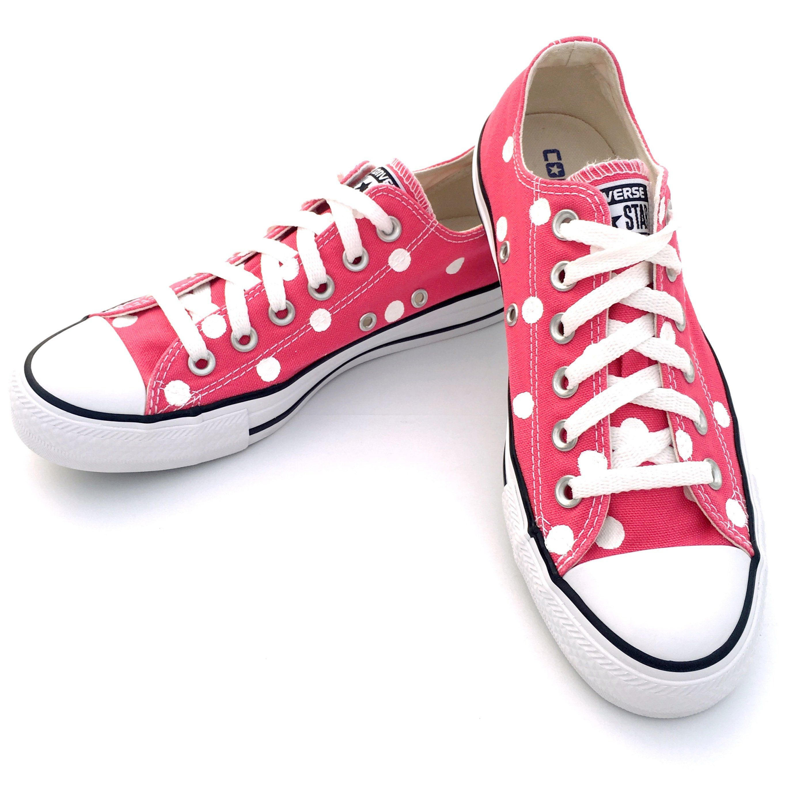 df7c2161d0bf RASPBERRY PINK Converse with Hand Painted White Polka Dots - Women s Size 7  - Men s Size 5 by ShamrockQuilting on Etsy