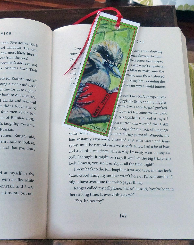 Bookmark -hand made-Kookaburra-Australian Animals- animals reading books-Paper Bookmark-Cute animals-Great gift by ArtiSueBee on Etsy