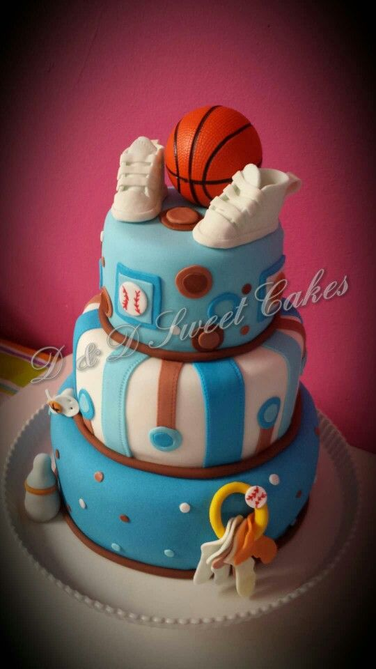 Basketball And Baseball Baby Shower Cake With Images