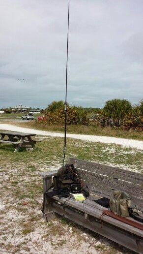 Icom IC703 and backpack with Buddistick antenna on Honeymoon Island State Park, Florida.