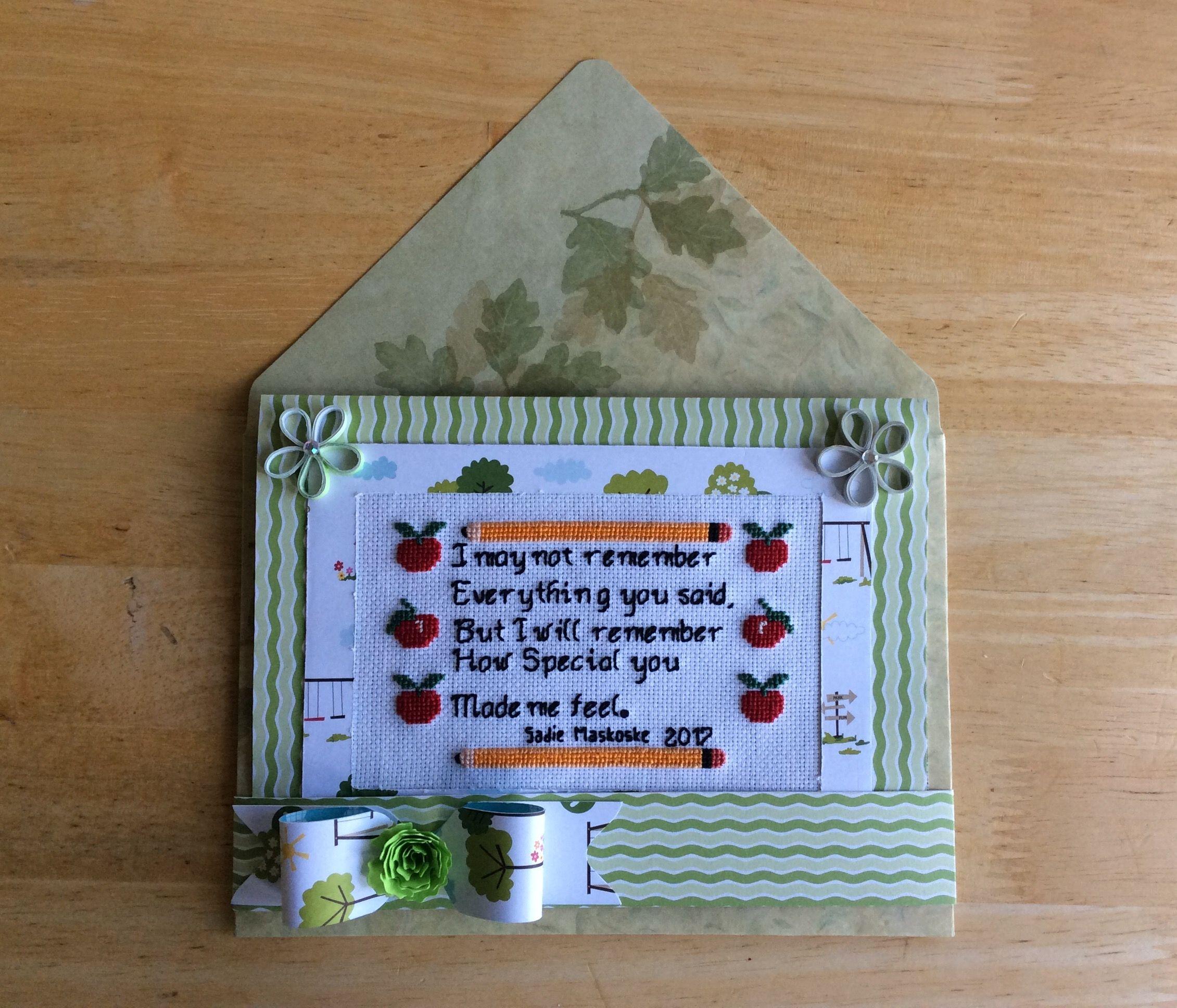 #22 Cross Stitch, Teacher's Thank You card made by Karen Miniaci.