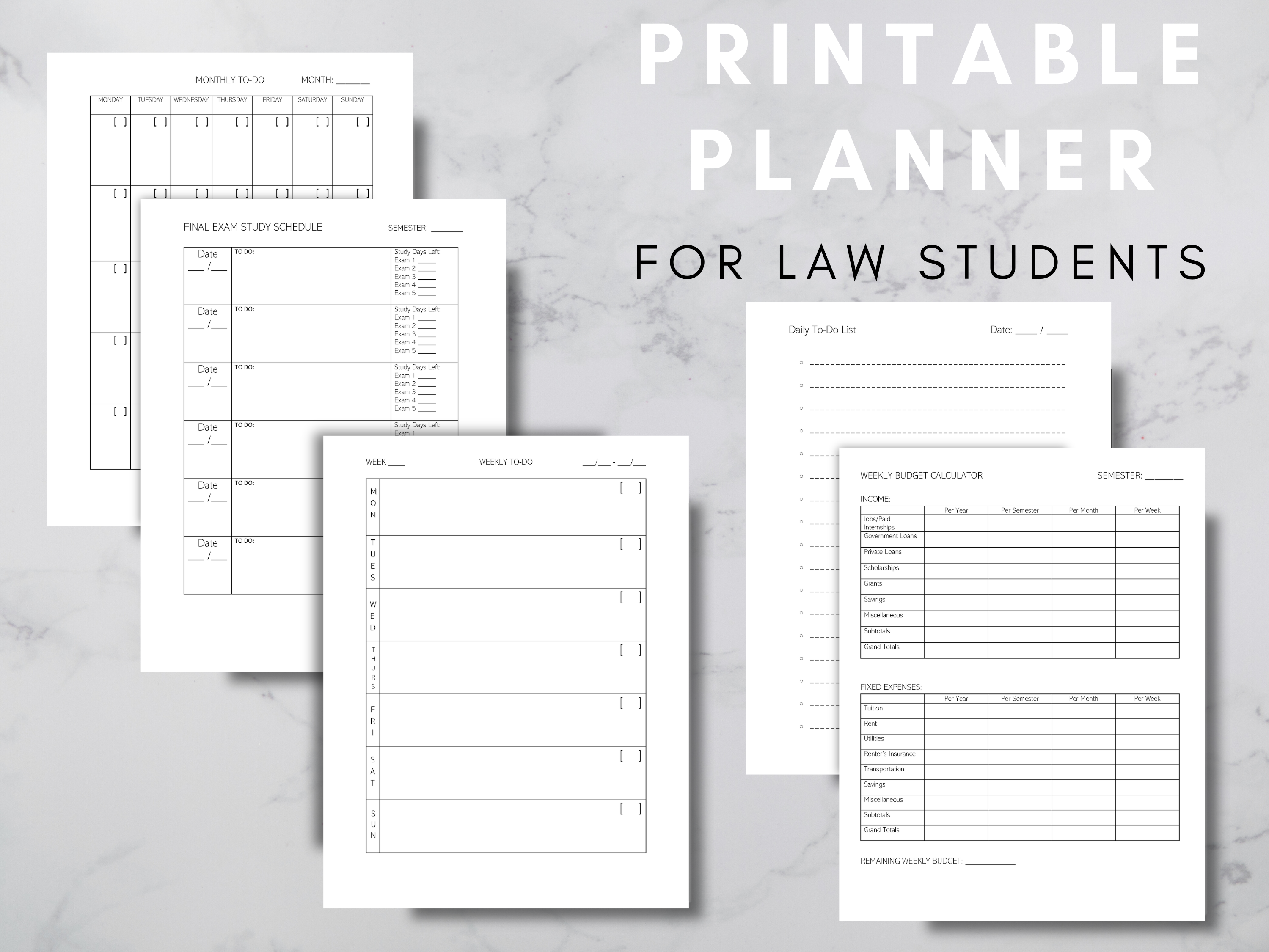 Law Student Planner Package Weekly Planner Daily To Do