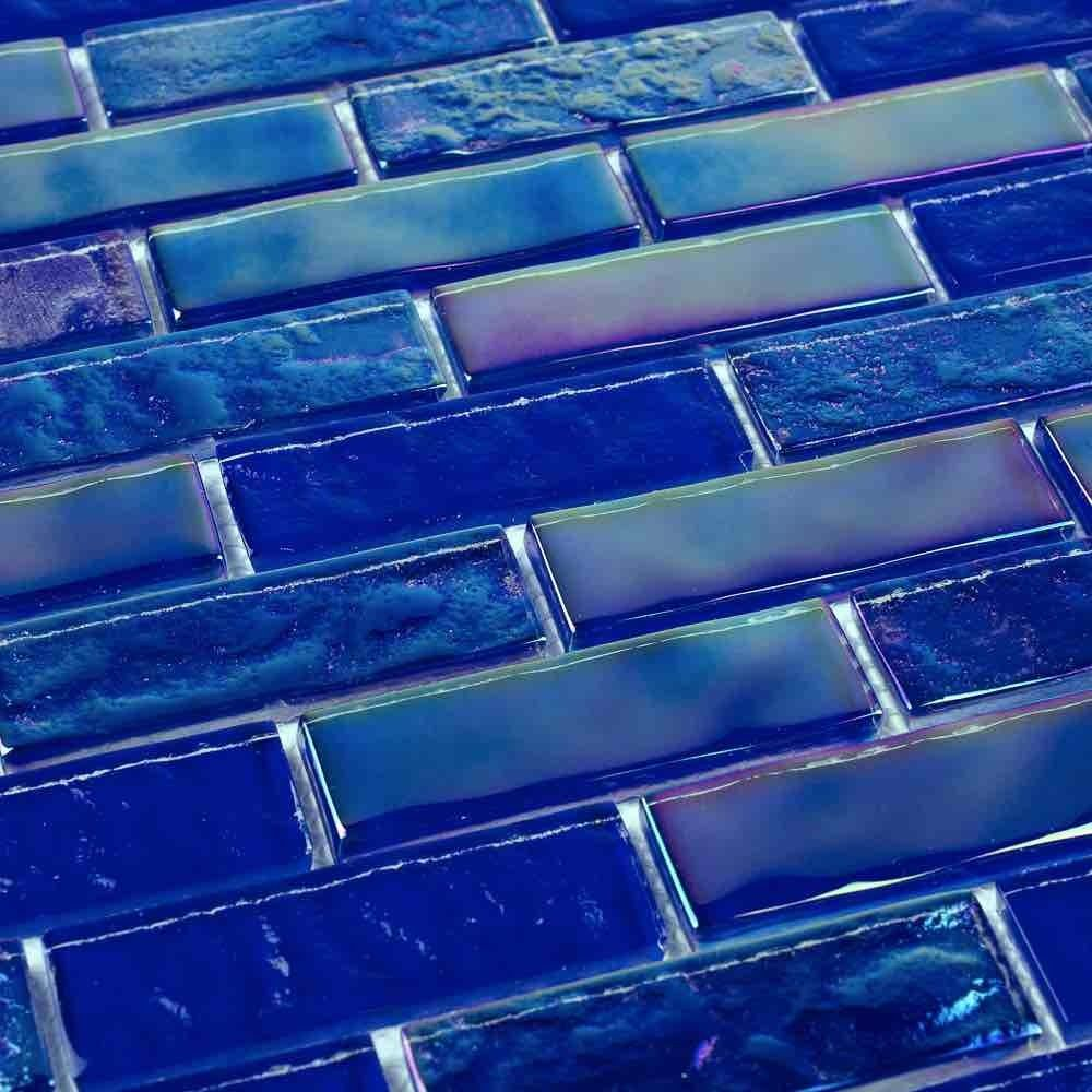 Iridescent Glass Tile Summer Cobalt Blue 1 x 3 #blue