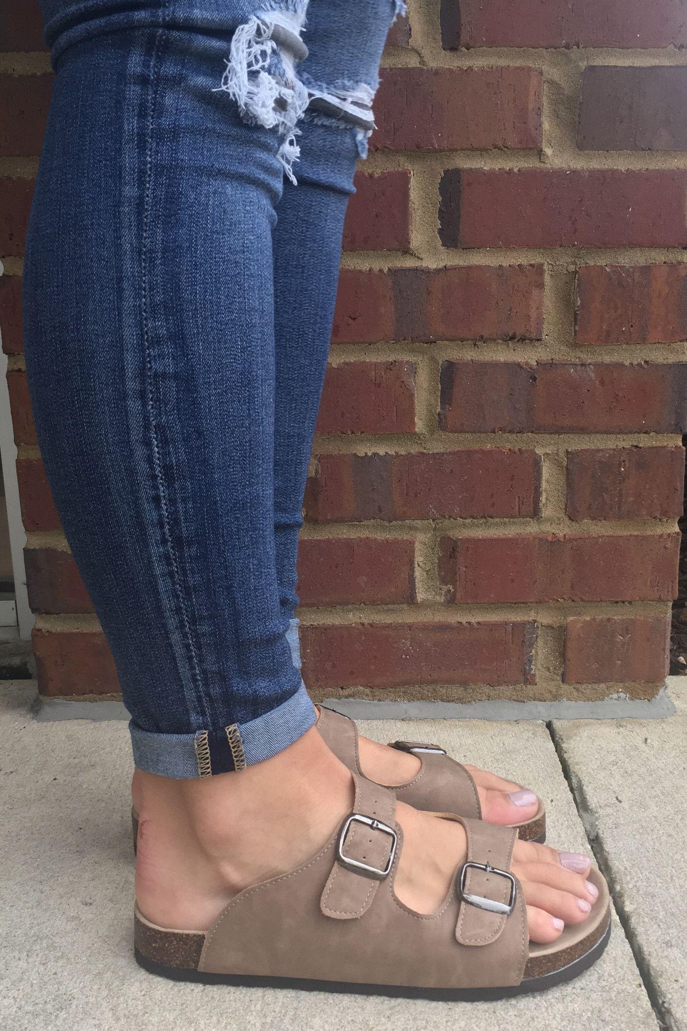 Birkenstock inspired tantaupe sandals with two buckel