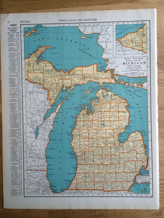 1937 MICHIGAN Original Vintage Map 11 x 14 inches State Map Rand