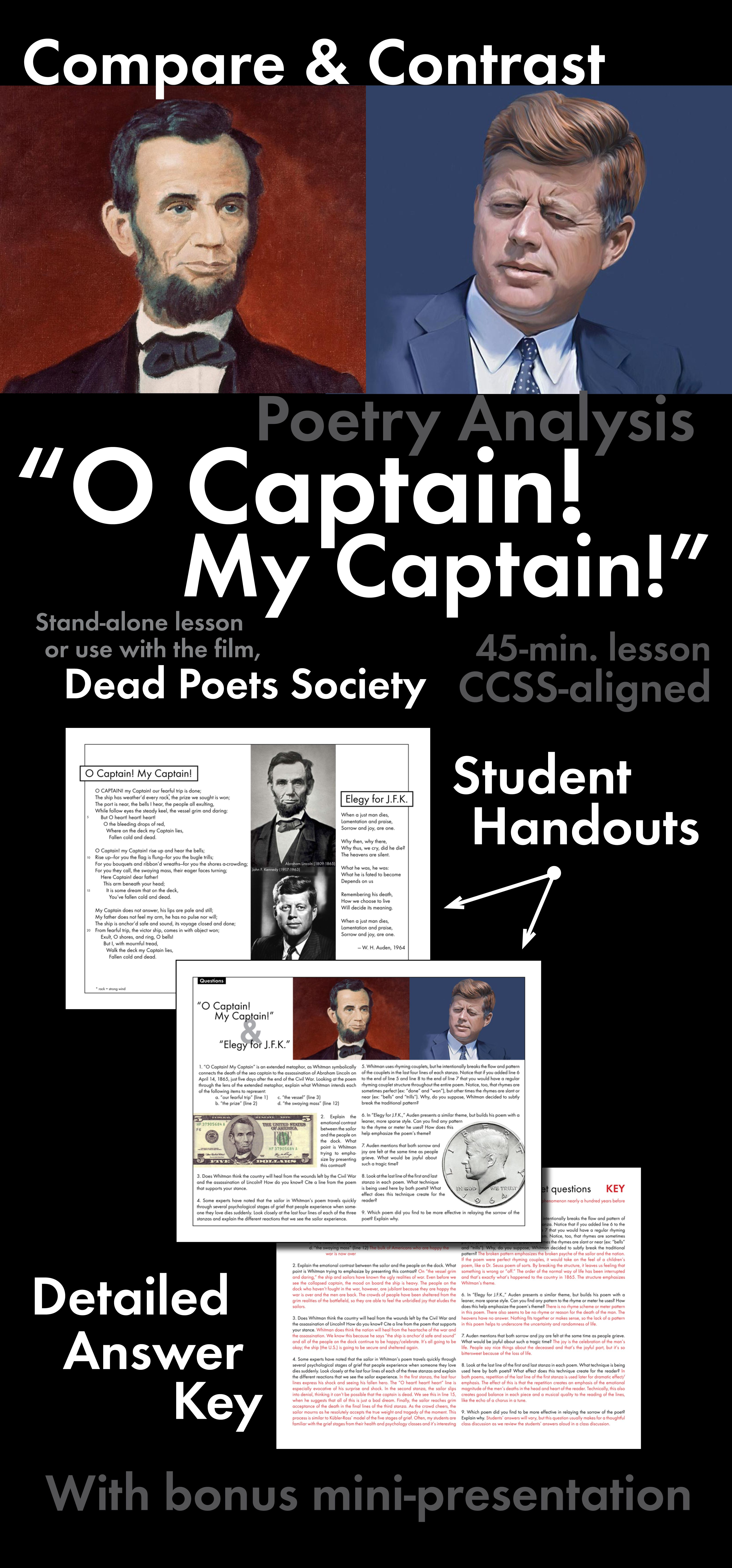 O Captain My Captain Walt Whitman Compare Amp Contrast