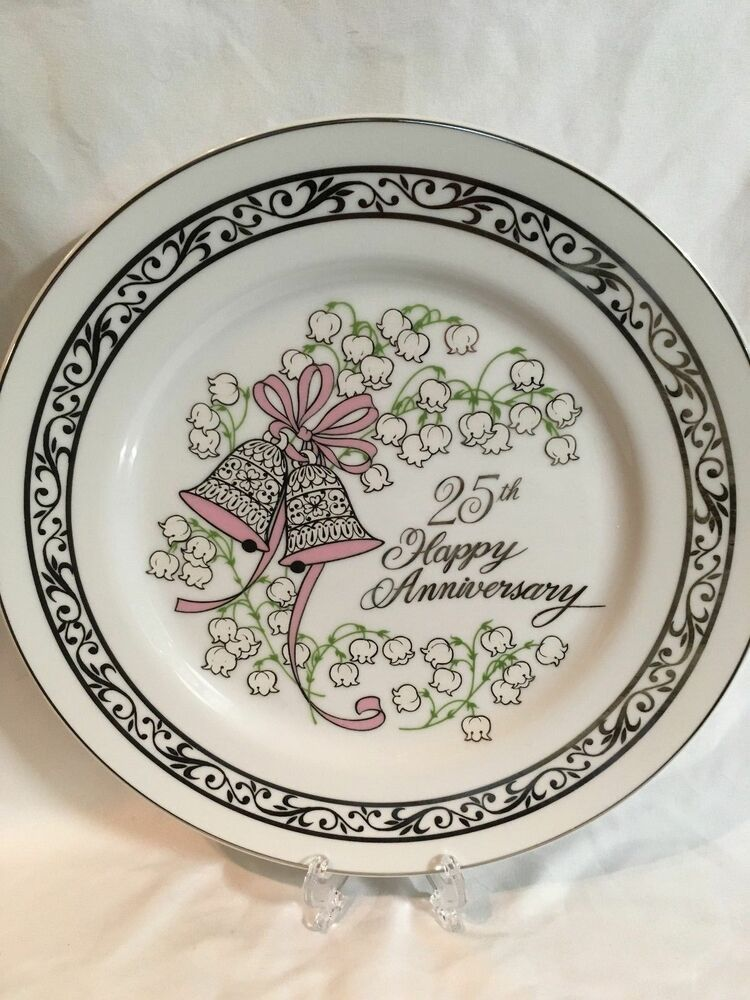 25th Twenty Fifth Wedding Anniversary Gift Plate Silver 1960's Made