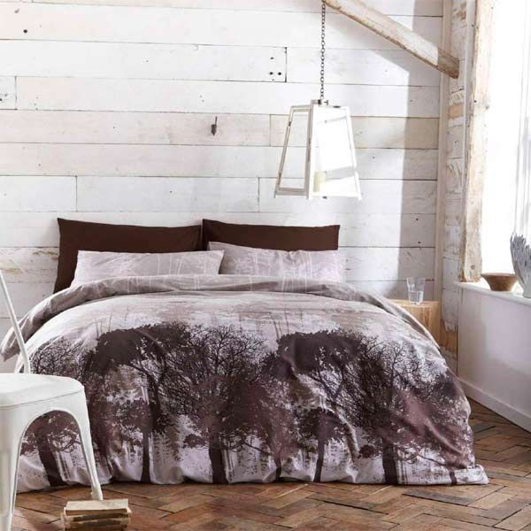Woodland Forest Trees Print Duvet Cover Set, Multi, King