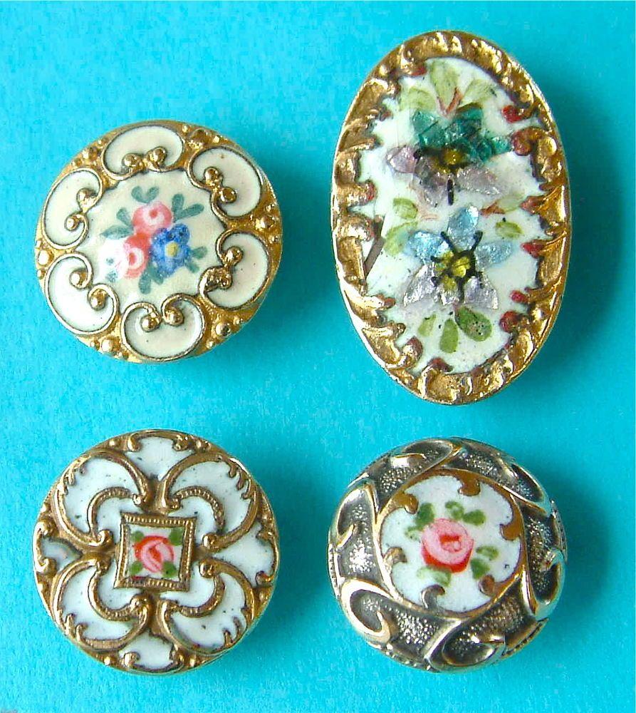 4 Antique French Champlevé & Émaux Peints Floral Enamel