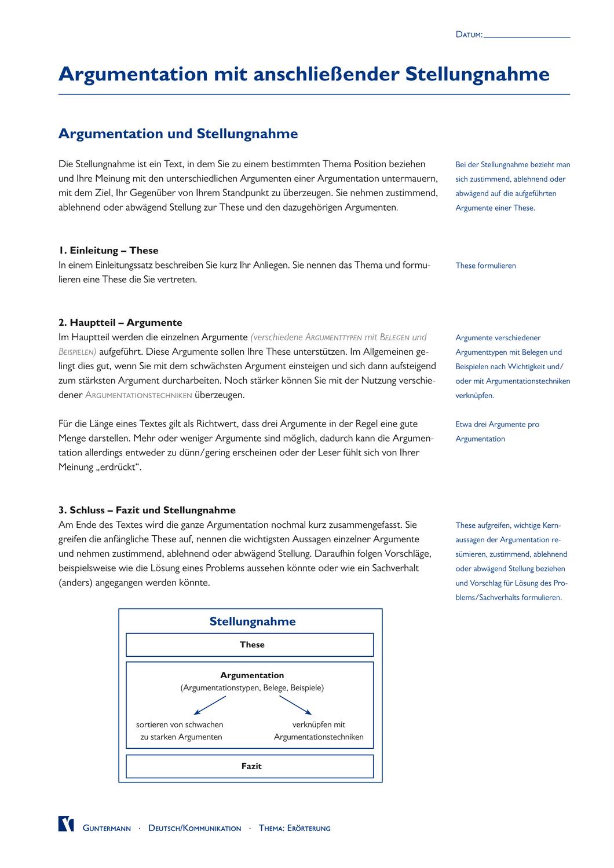 03 Stellungnahme Argumentationstechniken Unterrichtsmaterial Im Fach Deutsch In 2020 Erwachsenenbildung Unterrichtsmaterial Aufgabenstellung