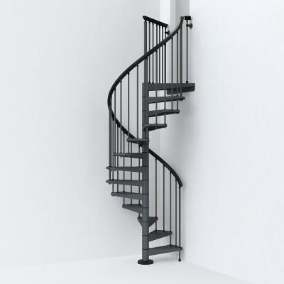 Best Arke Sky030 47 In Iron Grey Spiral Staircase Kit In 2020 640 x 480