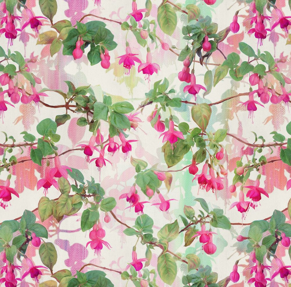 Watercolor floral fabric rainbow fuchsia floral painted pattern large by micklyn floral cotton fabric