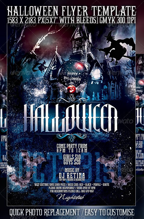 Halloween Flyer Template Flyer template, Party poster and Template - club flyer background