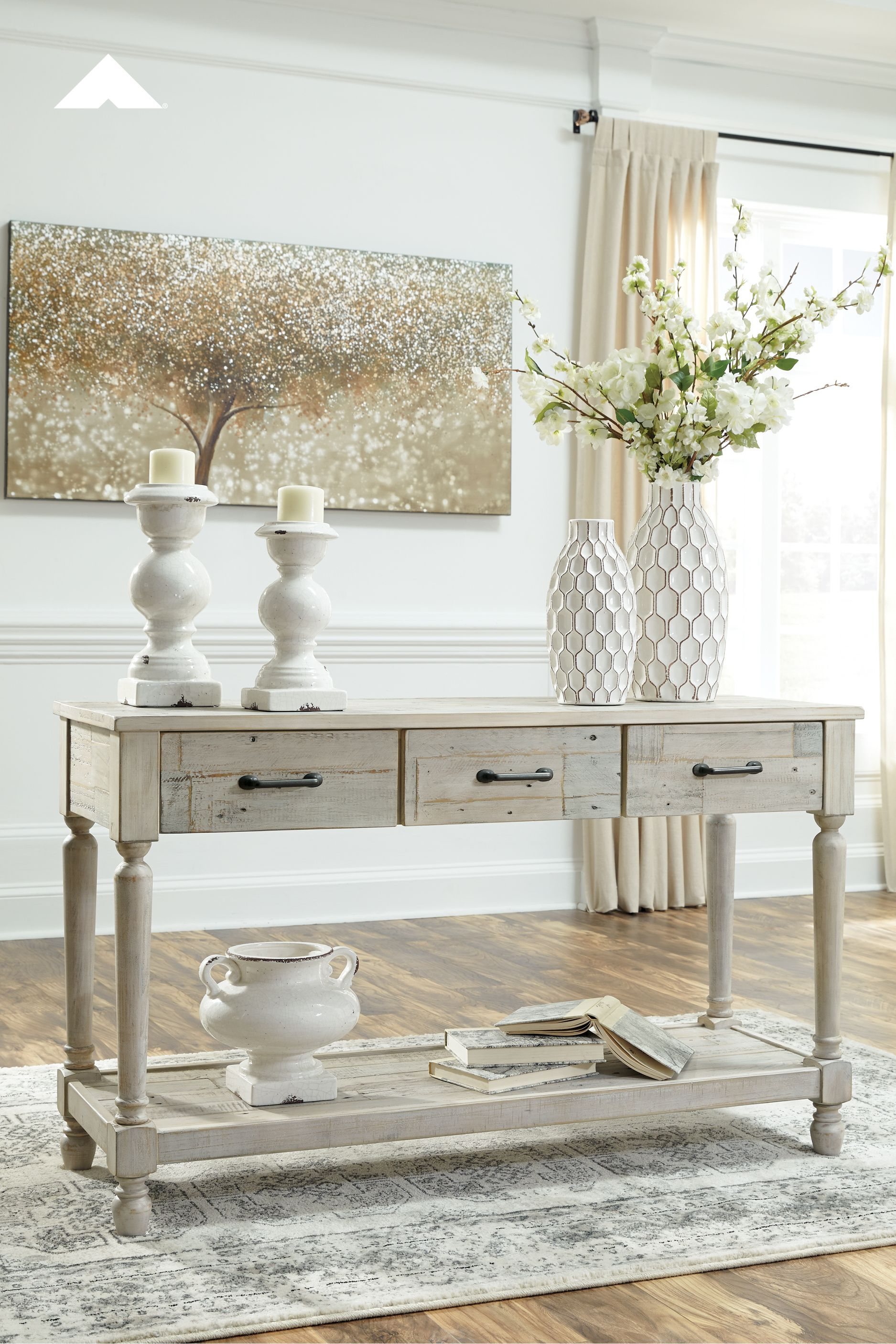 Shawnalore Whitewash Sofa Table By Ashley Furniture Home Decor Accents And Accessories Ideas And Inspiration Ashleyf Wood Console Table Sofa Table Furniture