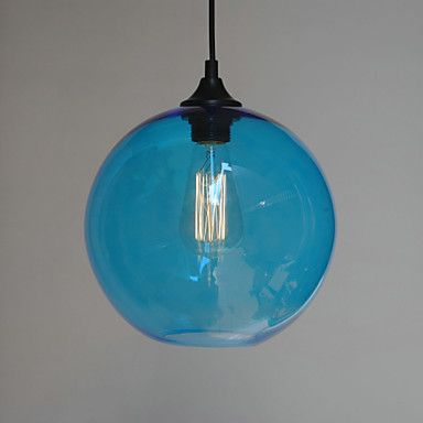 Rusticlodge vintage globe traditionalclassic drum island bowl modern glass pendant light in round blue bubble design usd 7999 mozeypictures Image collections