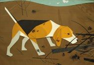 "Charley Harper: 'Beagle'  Gouache and cut paper on illustration board  Image: 12 ½""h. x 17 ½""w.  Lincoln-Mercury Times, September-October 1955"