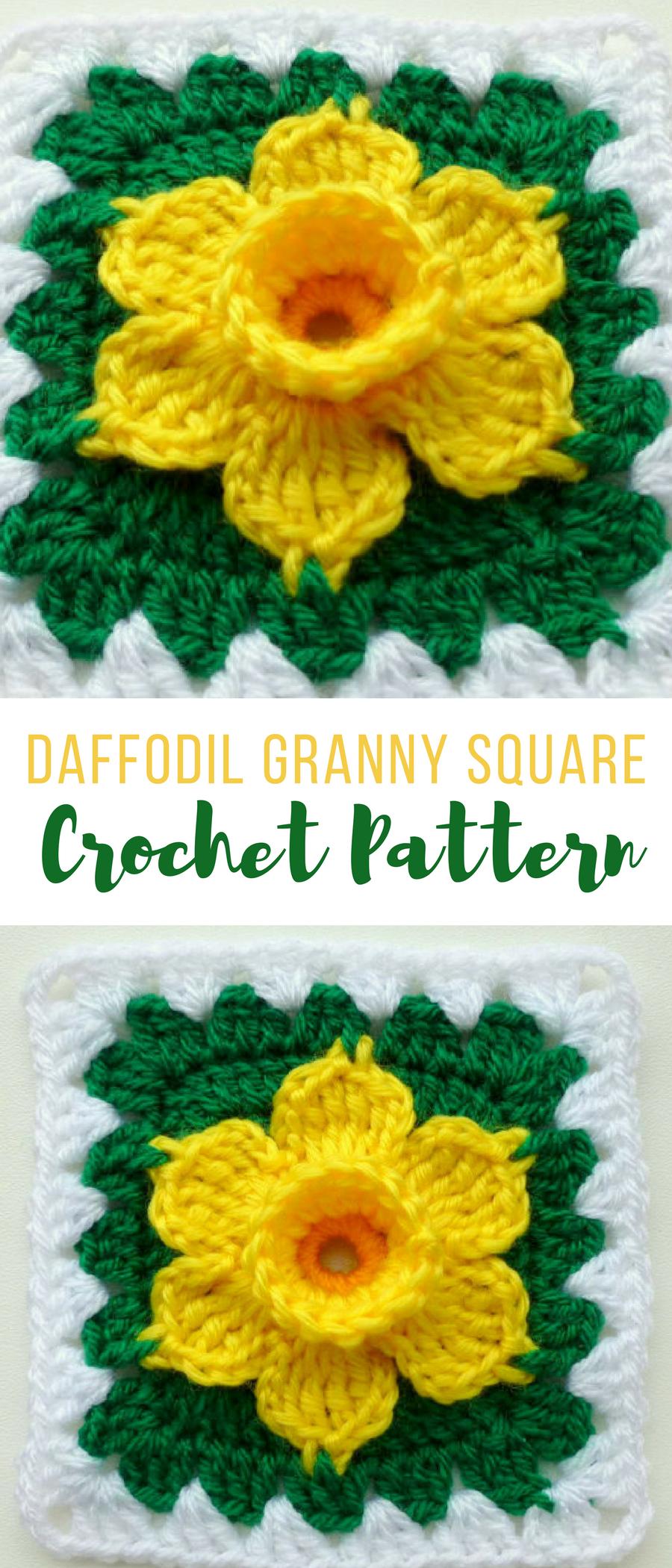 Crochet Daffodil Granny Square Pattern Crochetflowerpatterns