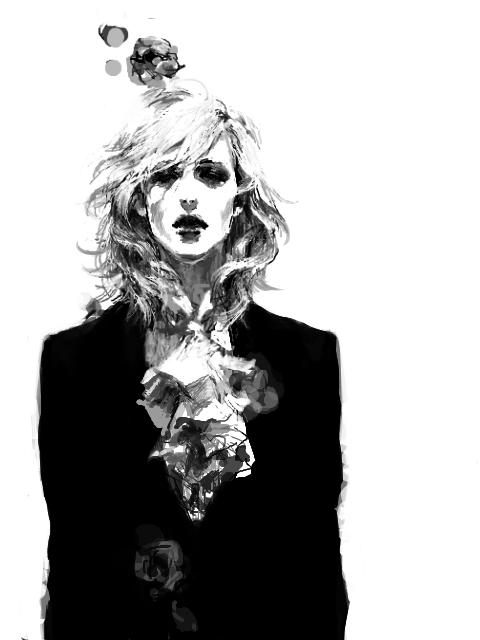 art, balck and white, and illustration image