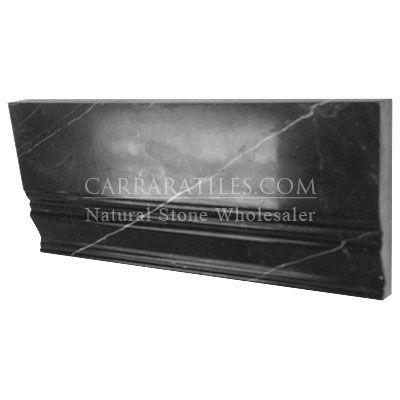 Nero Marquina Black Marble 3 4 Baseboard Molding Polished Baseboard Molding Black Marble Baseboards