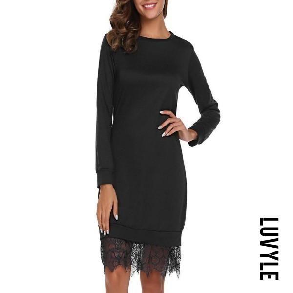 4dbb9a2c3 Luvyle -  Luvyle Round Neck Patchwork Plain Bodycon Dress - AdoreWe ...
