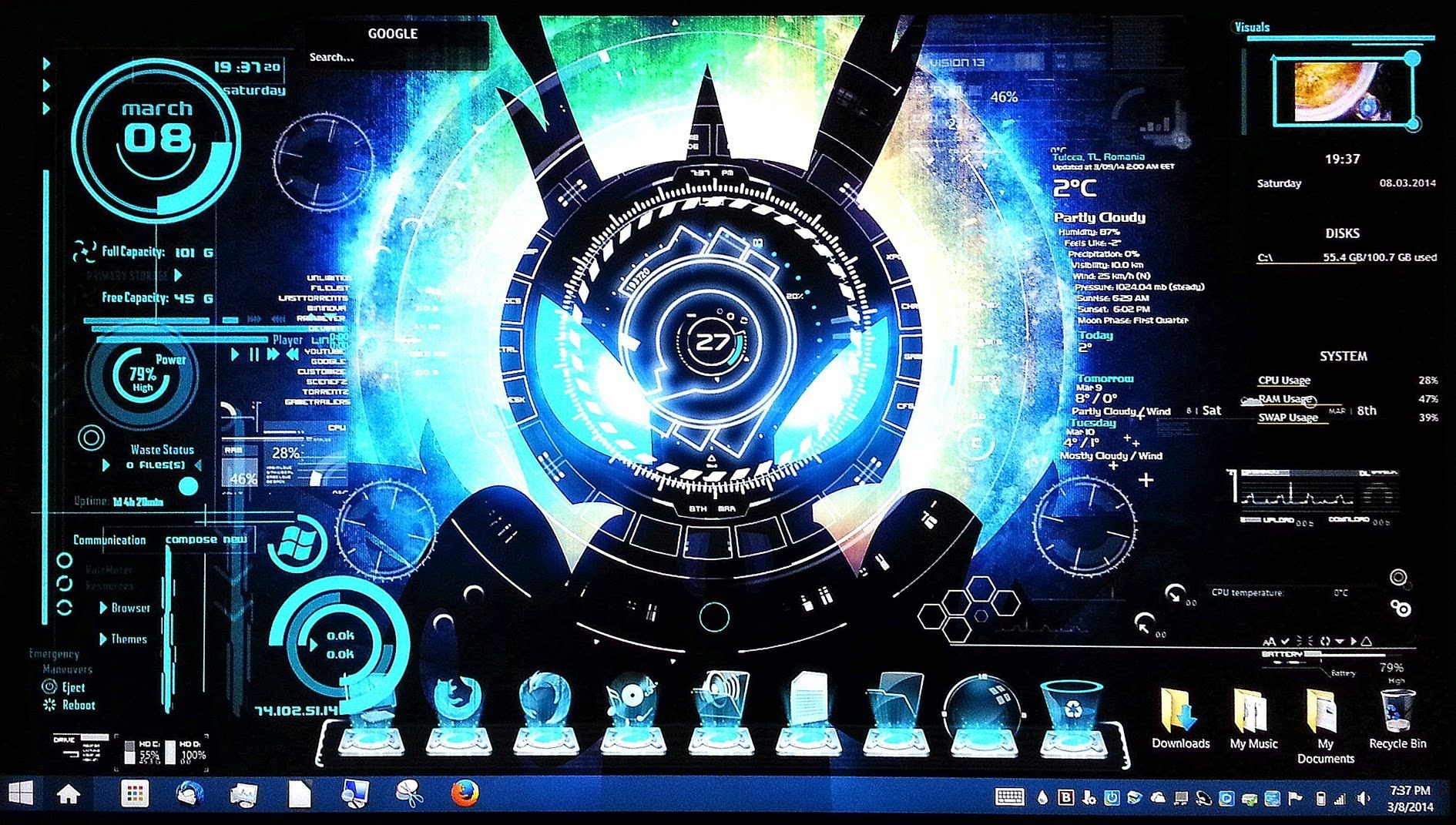 Part 1 Cool Desktop Customizations For Windows Rainmeter Jarvis Theme Desktop Themes Cool Desktop Desktop Design