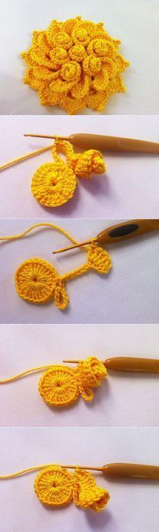 Beautiful Crochet Flower   fave crafts.com   Pinterest   Häkeln ...