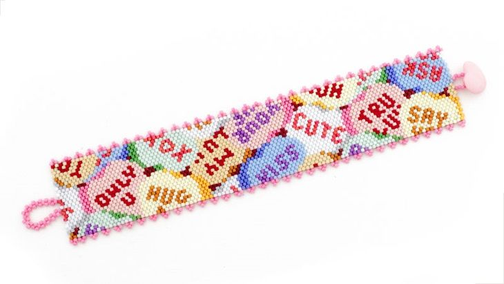 FREE PROJECT: Check out this Sweatheart of a Candy Hearts Bracelet. Valentine's Day gives us an opportunity to spread the love with encouraging cards and tasty morsels. This peyote stitch bracelet sends a warm and fuzzy message to anyone who receives it — even if you give it to yourself! Peyote stitch. Bead&Button Magazine. FacetJewelry.com