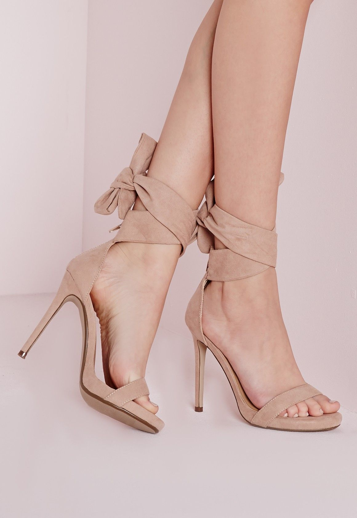 eaa04f9312b Ankle Tie Heeled Sandals Nude - Shoes - High Heels - Missguided