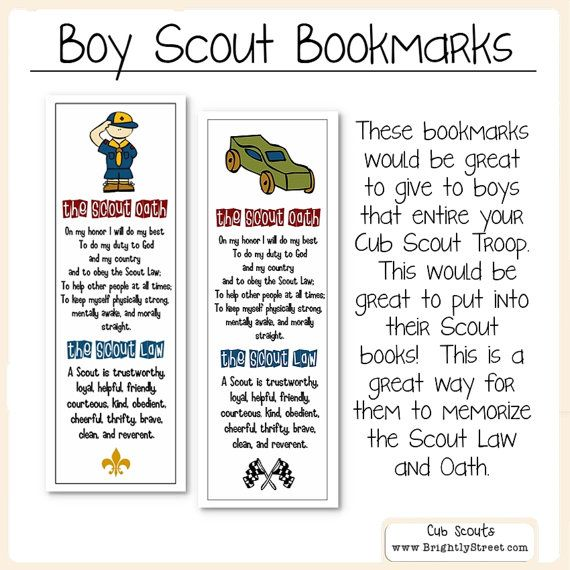Cub Scouts Law and Oath Bookmarks by BrightlyStreet on Etsy - boy scout medical form