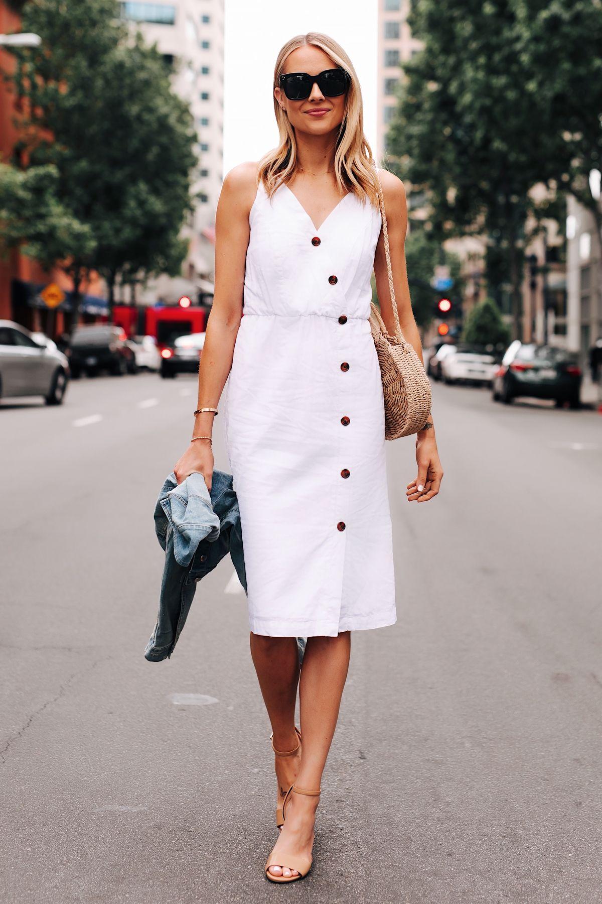 Fashion Jackson Wearing White Midi Dress Denim Jacket Tan Ankle Strap Heeled Sandals 1 Fashion Jackson Fashion Stylish Summer Outfits [ 1800 x 1200 Pixel ]