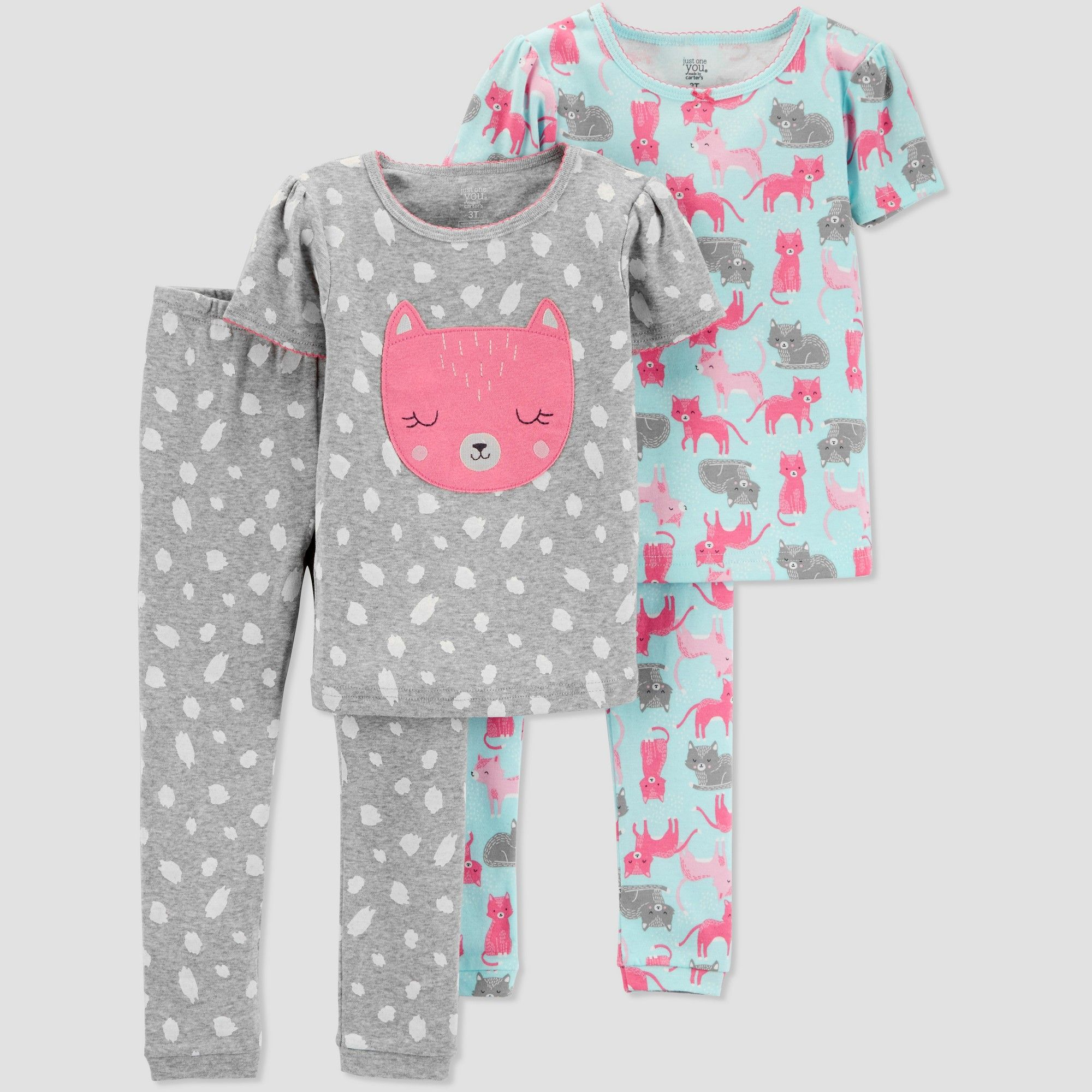 771fe2d4a Baby Girls  4pc Fox Pajama Set - Just One You made by carter s Gray ...