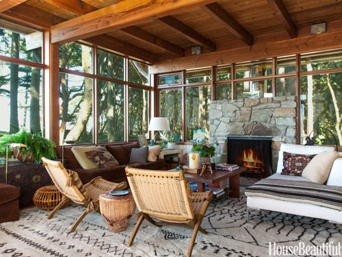 Rustic Living Room By Markham Roberts Inc By: Here's How To Decorate Your Fireplace So It Looks Stylish