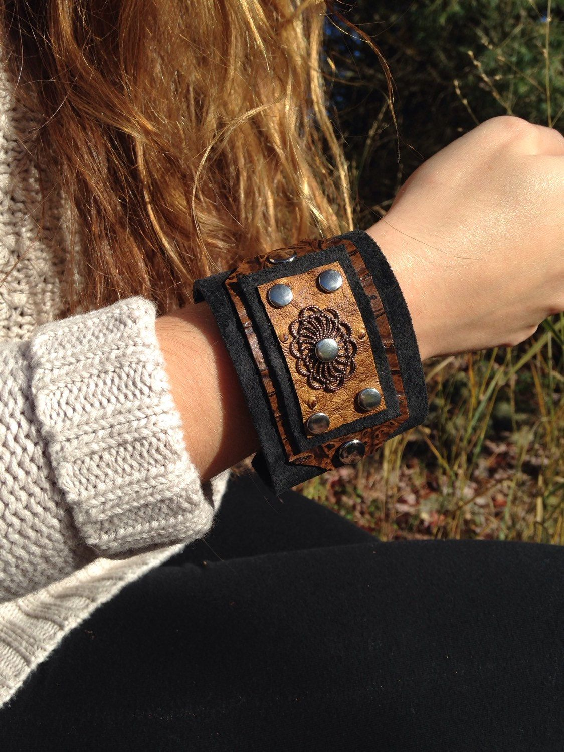 Metal bangle with genuine leather jewelry piece in cognac cuff gift for women upcycled jewelry