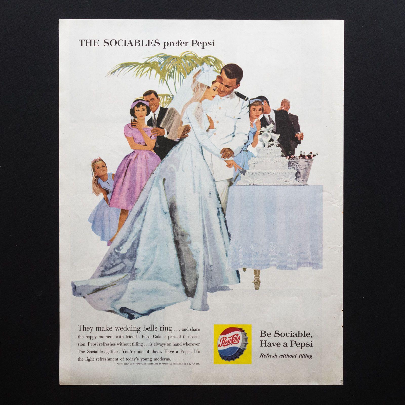 Vintage Print Ad Pepsi Cola At Wedding 1960 Full Page Magazine Ebay