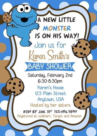 Cookie Monster Polka Dots Baby Shower Invitation Monster Baby Showers Monster Baby Shower Invitations Polka Dot Baby Shower
