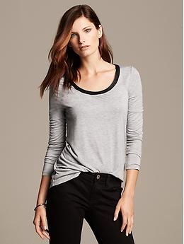 Faux-Leather Trim Whisper Tee.  Yep just added it to my new work wardrobe.