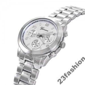 Zegarek Damski Geneva Classic Kwarcowy Srebrny New Fashion Watches Wrist Watch Design Watches