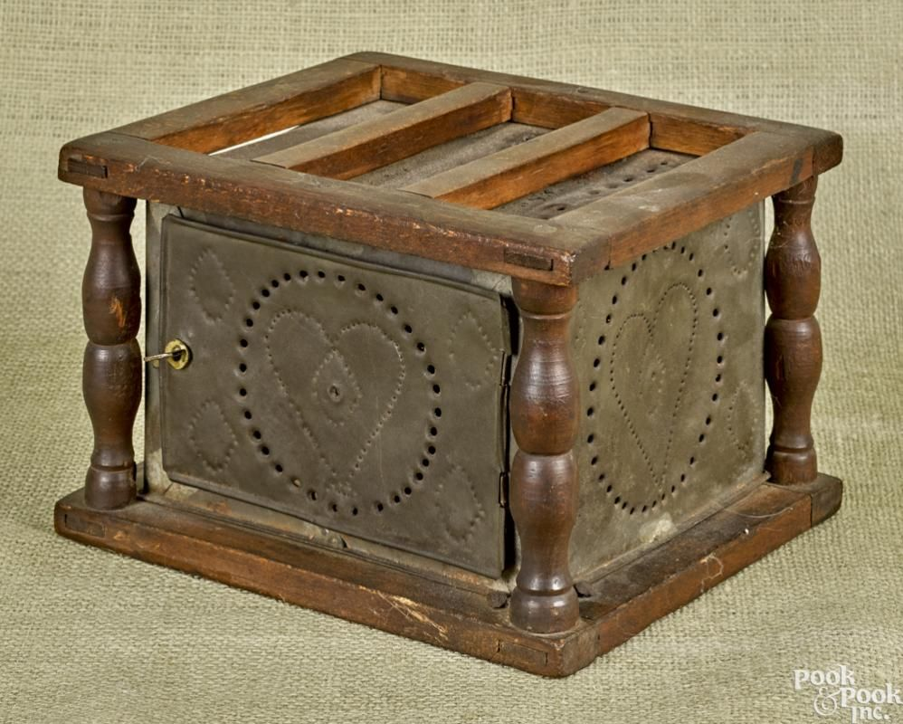 Pine And Punched Tin Foot Warmer 19th C 5 3 4 H 9 W