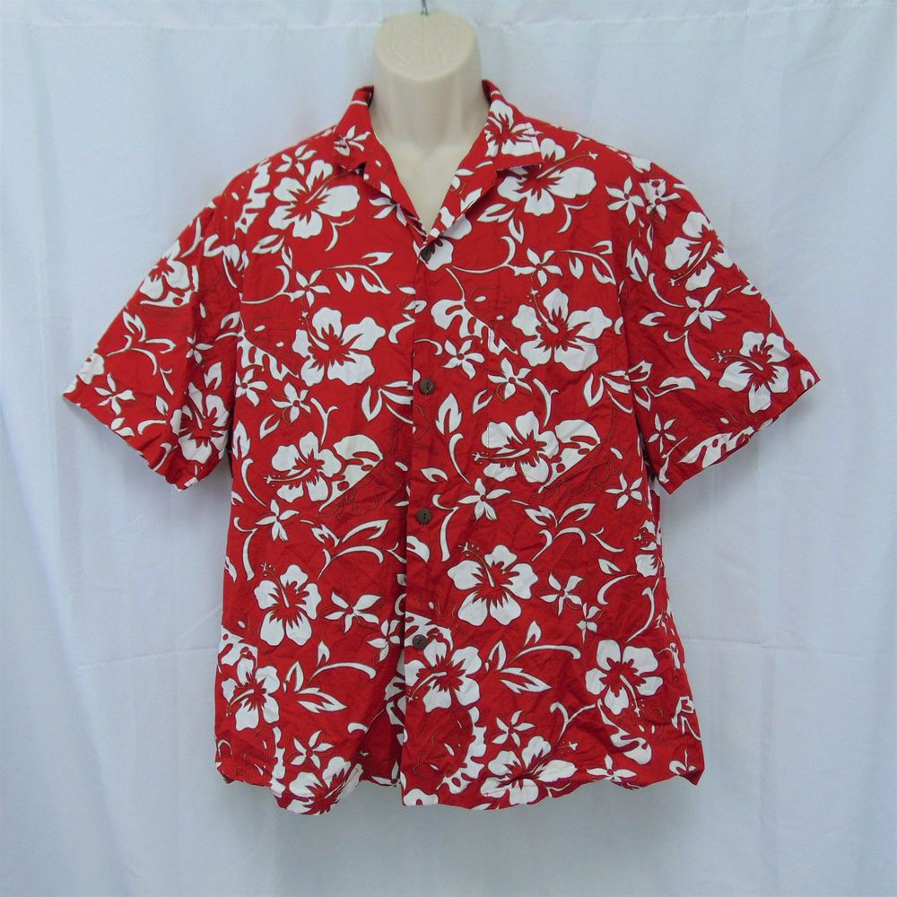 1158cff628 Hilo Hattie Red Hawaiian Original Shirt White Hibiscus Flowers ...