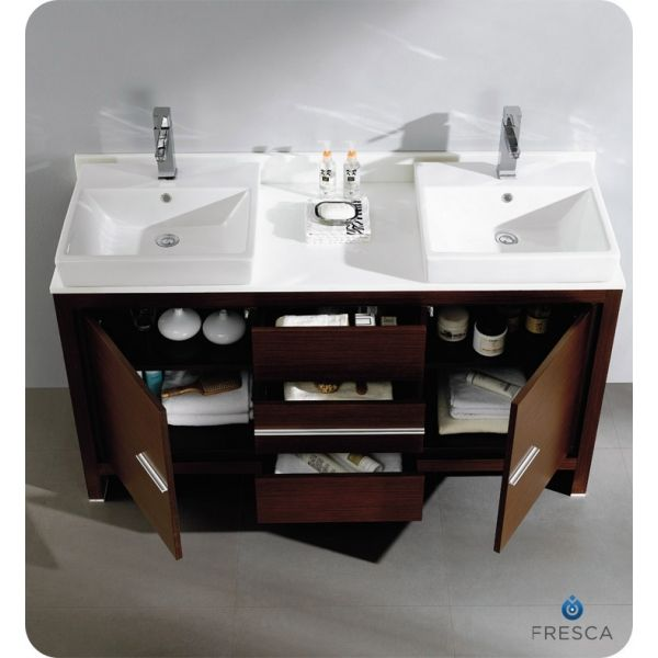 Double Bathroom Sink Tops 60 inch double sink vanity with quartz |  60 inches wenge brown
