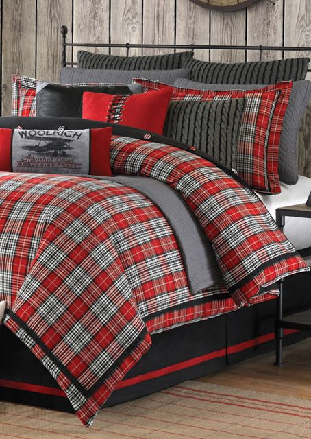 Woolrich Williamsport Plaid 4 Piece Comforter Set King 4 Piece Red Christmas Bedroom Plaid Bedding Home