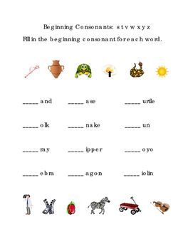 Beginning+Consonants+Write+Fill-in+Letters+S+T+V+W+X+Y+Z.+Great+for+Tools+for+Common+Core,+Emergent+Reader,+Kindergarten+Reading+Writing.+Life+Skills.+Printable.+1+page.+