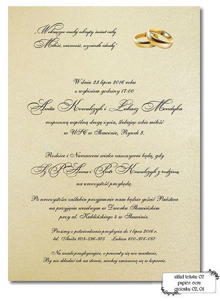 Zaproszenia ślubne Teksty Wedding Inspirations Pinterest