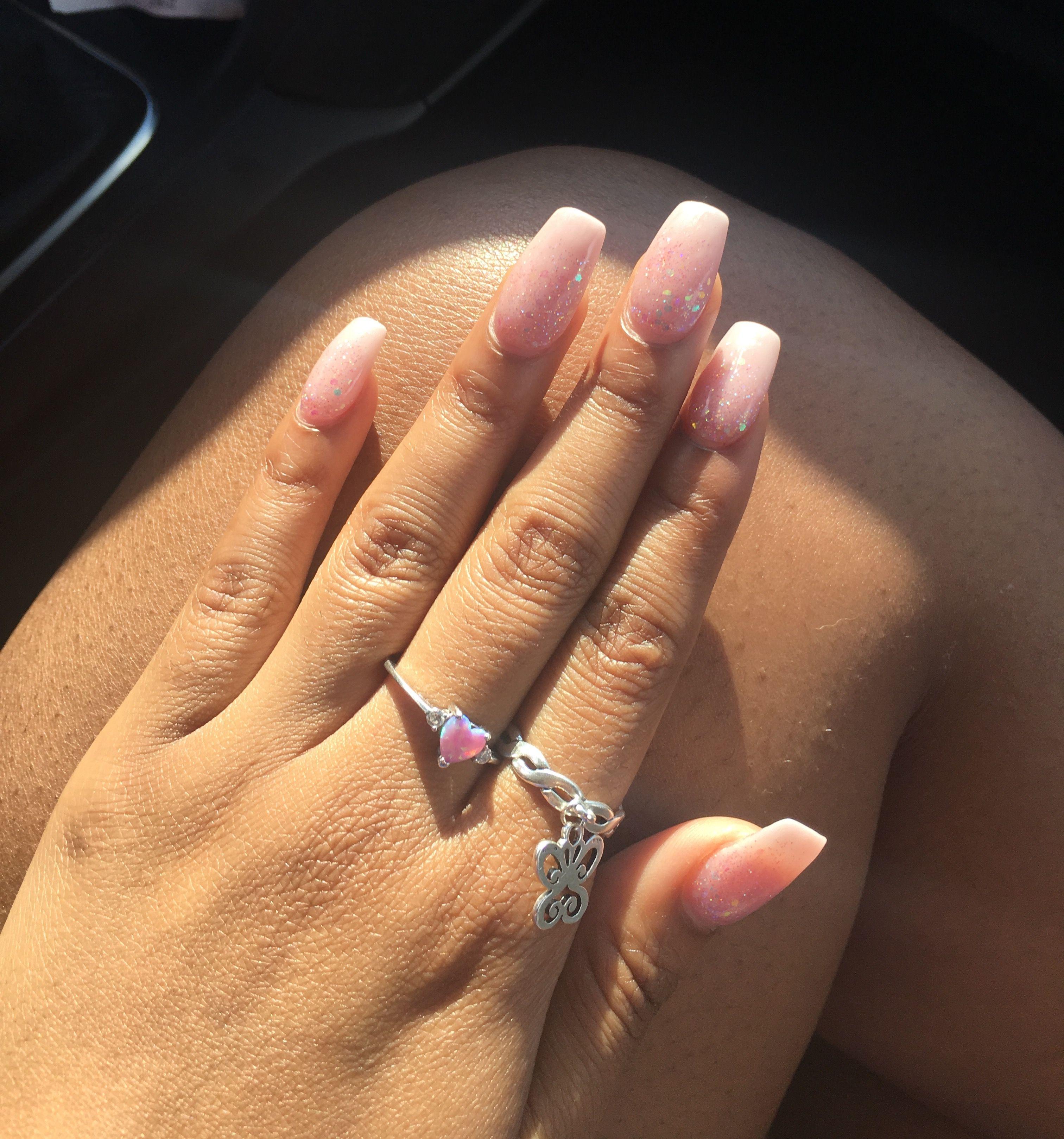 dip Powder glitter ombré nails #acrylic nails#nail art | nail art ...