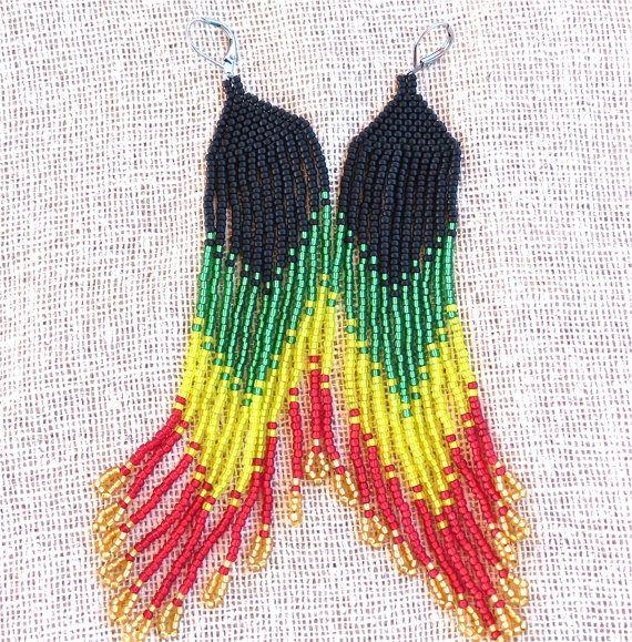 Long Beaded Rasta Earrings, Rastafari Lion, Jah, Bob Marley, Jamaica, Reggae, Island